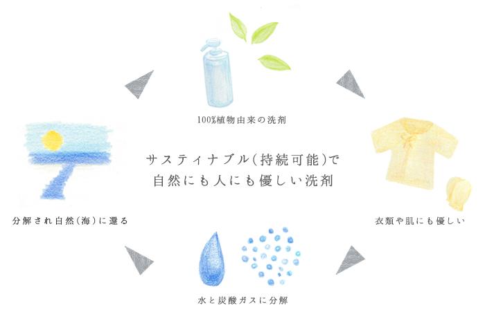 水に還る環境に優しい洗剤