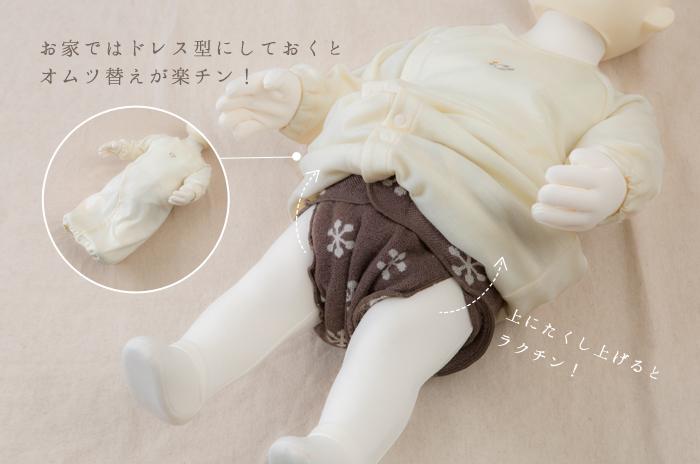 写真4 編み柄おむつを載せた写真とロンパースイメージ